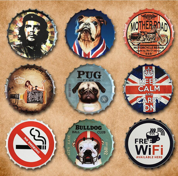 best selling Beer Cap Vintage Retro Metal Sign round Warning Signs Poster Plaque Club Home art iron Painting Pub Bar Garage Wall Decor FFA954 60pcs