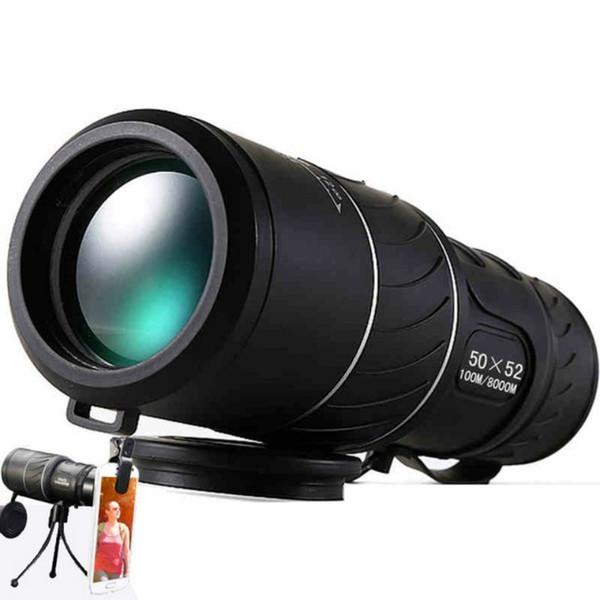 Black HD Compact Monocular 50x52 Zoom Telescope Binoculars High-power High-definition Adjustable Daytime Vison Hunting Watching
