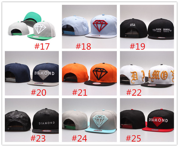 Wholesale adustable hats sport hat Snapback diamond snapbacks baseball Caps unisex basketball football diamond caps mix order