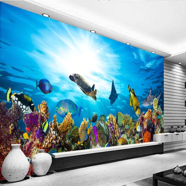 Großhandel Individuelle Mural Unterwasserwelt High Definition Kinderzimmer  Wohnzimmer Hintergrund Ocean Aquarium Schlafzimmer Dekorative 3D Stereo ...