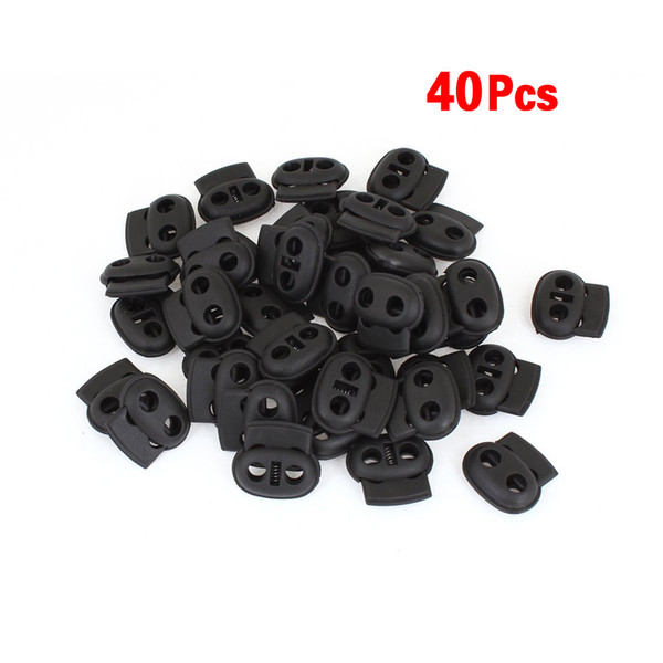 top popular Double Hole SpRing Loaded DrawstRing Rope Cord Locks Black 40 pcs 2020