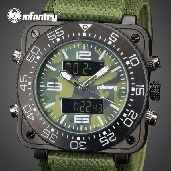 INFANTRY Mens Digital Quartz Wrist Watch Sport Luxury Watches Military Army Wristwatch Date Day Camouflage Nylon Strap for Men Male Clock