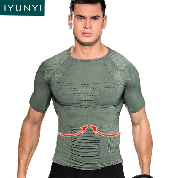 IYUNYI Men Body Shapers Shapewear Fitness Shirt Casual Mens Thin Shapewear T Shirt Honeycomb Seamless Quick Dry T Tops