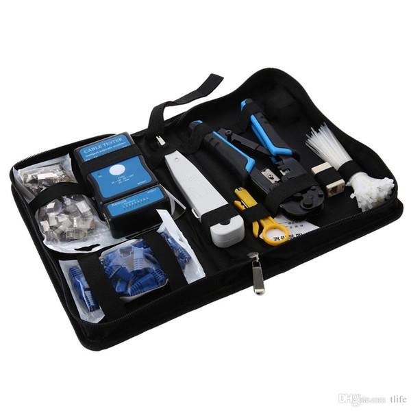 Réseau 9 en 1 Entretien Kit de réparation 568 Pince réseau Testeur de câble Coupe-fil Jeu d'outils Jeu de réparation de maintenance Réseau informatique
