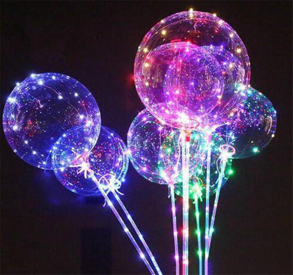 top popular Fashion Luminous LED Balloon Transparent Colored Flashing Lighting Balloons With 70cm Pole Wedding Party Decorations Holiday Supply 2020