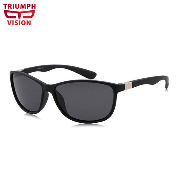 TRIUMPH VISION Oval Wind Proof Design Shades Matter Black Driving Sunglasses for men Mirror Color Lens Lunette Eyewear