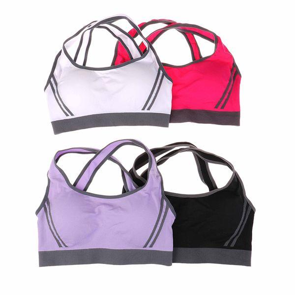 4 Colores Mujeres Push Up Sujetador Deportivo Sujetando Fitness Sujetador Deportivo Sujetador de Yoga Acolchado Superior Sport Sport Top Bralette