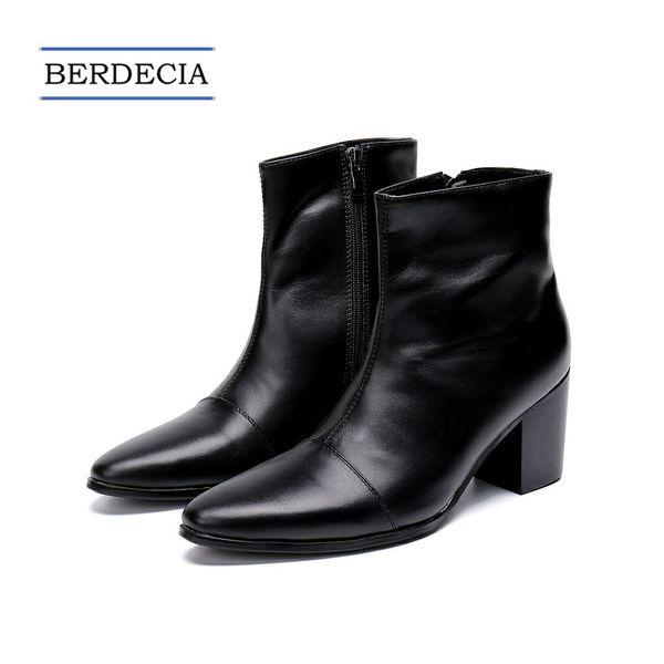 2018 Tasarımcı Yeni İtalyan Hakiki Deri Erkek Ayak Bileği Çizmeler Moda Yüksek Topuk Erkekler Elbise Çizmeler Sivri Burun Motosiklet Çizmeler Siyah 38-47
