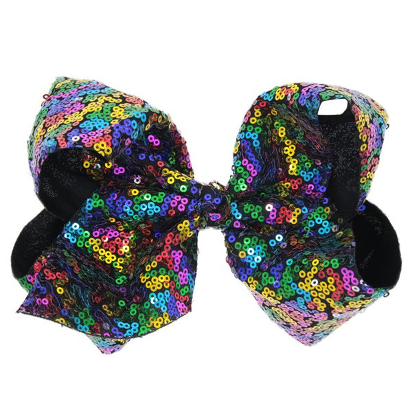 "8"" Mermaid ReversibleSequin Bow Hair Clip For Kids Girls Handmade Large Bling Jumbo Hair Bows Hairgrips Accessories"