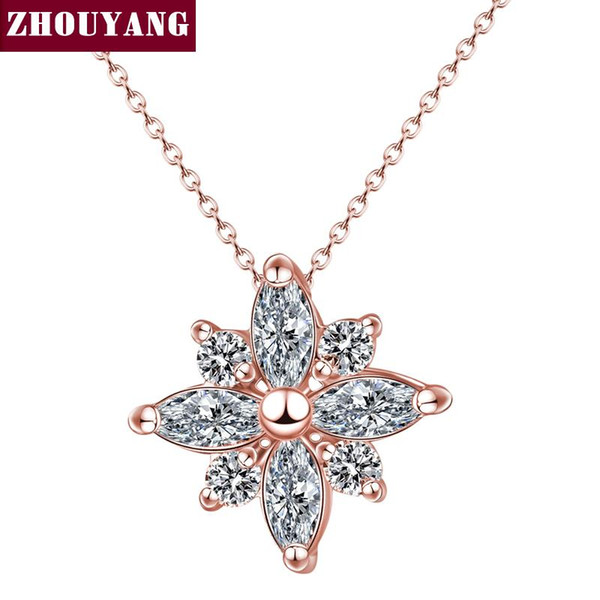 Wholesale- Top Quality Crystal Snowflake Necklace Rose Plated Fashion Jewellery Nickel Free Pendant Crystal ZYN400 ZYN401