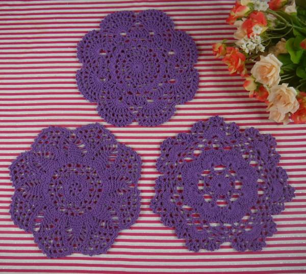 15pieces-Per design 5 PCS 3 Design/LOT Handmade Crocheted Doilies Vintage Placemats, cotton cup mat mug pad, Color Custom 18-20CM