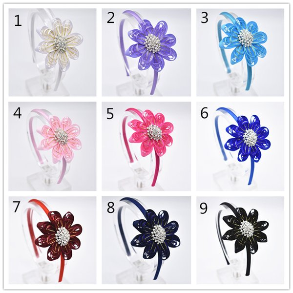 18pcs The leaves of flowers of rhinestones headbands strip of hair for women boutique accessories decorative head band FG014