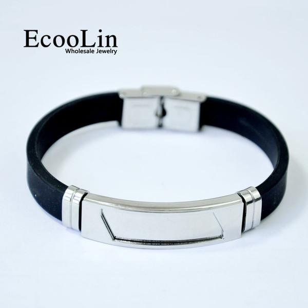 20pcs New Fashion Wristband black Punk Rubber Silicone Stainless Steel Men Bracelets Bangles pulseras hombre caucho LR4092