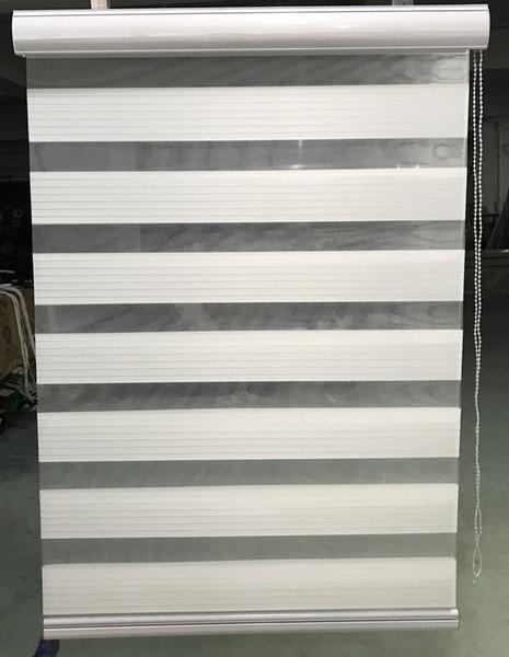 Großhandel Zebra Jalousien Horizontale Fenster Schatten Doppelschicht Rollos Fenster Benutzerdefinierte Schnitt Nach Größe Weiße Vorhänge Für