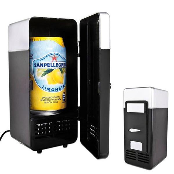 top popular 2 In 1 Desktop Mini Fridge USB Gadget Beverage Cans Cooler Warmer Refrigerator With Internal LED Light Car Use Mini Fridge TB 2020