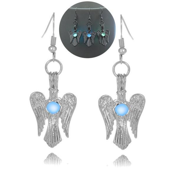 luminous bead angel wing earring hollow locket wing angel stud Dangle & Chandelier Halloween lucky glow in the dark earrings for women