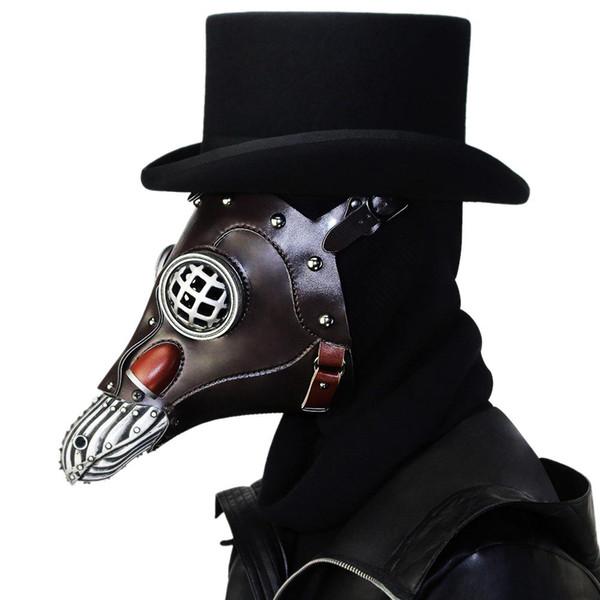 Steampunk Nova Atualização Faux Leather Plague Doctor Máscaras Cosplay Pássaro de Alta Qualidade Longo Bico Máscaras de Halloween Carnaval Trajes