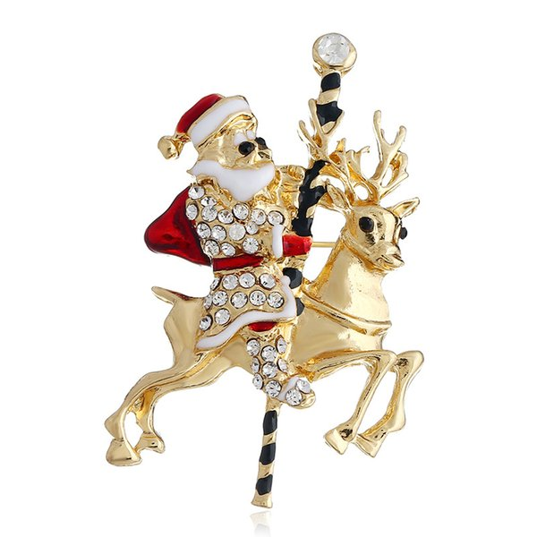 Show Christmas Brooch Santa Claus Elk Brooch Brooch Christmas Ornament New Year Gift