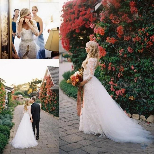 2019 New Summer Garden Lace Country Wedding Dresses with Detachable Train Over Skirt Floor Length Keyhole Back Bridal Gowns Long Sleeve