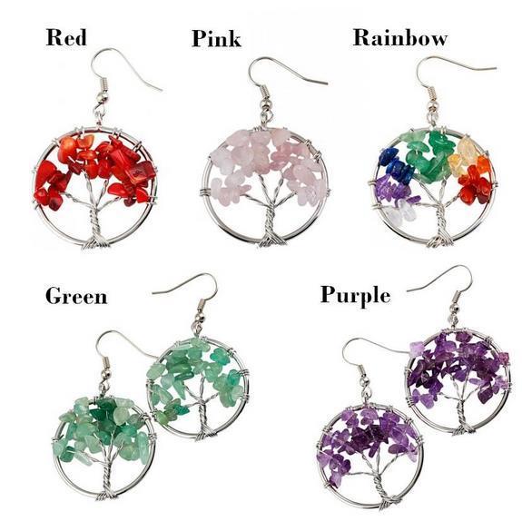 5 Styles Charm Yoga bead Earrings Wire Wrap Gemstone Crystal Quartz Chip Bead Tree Of Life Hook Earrings Gift FBA Drop Shipping