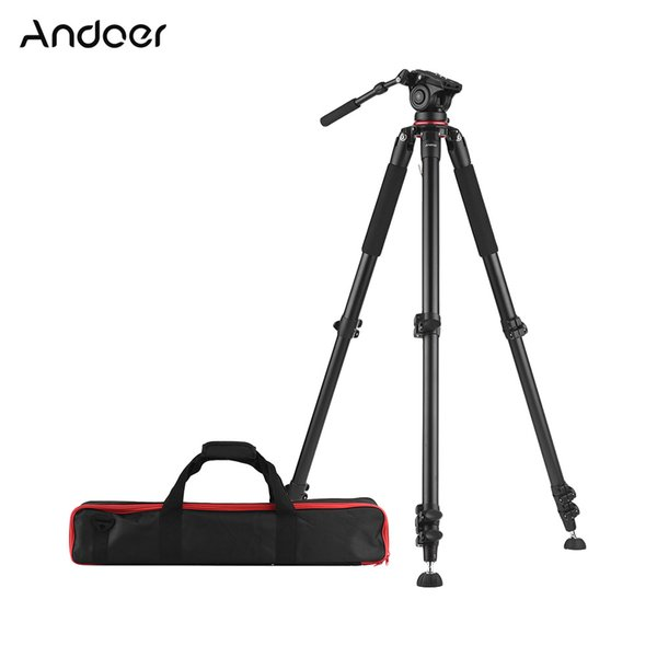Andoer 5.6ft Professional Camera Tripod Heavy Duty Video Camcorder Tripod w/Fluid Dray Head Quick Release Plate for DSLR Camera