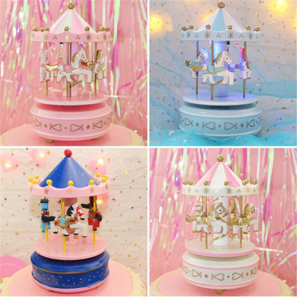 1pc Pink Unicorn Wood Carousel Music Box Decorazione torta Compleanno Decorazioni per feste Bambini Unicorno Baby Shower regalo Unicorn Party