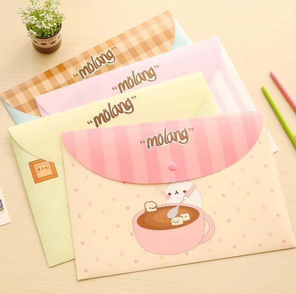 cartoons A4 document bags cute practical plastic file folders book paper storage bags holders school office supplies stationery