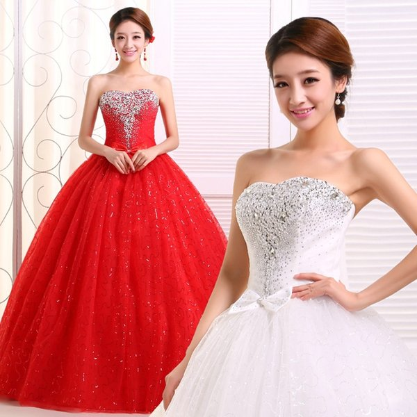 Factory Outlet Elegant Women Red White Lace Wedding Dress Crystal Beaded Slim Strapless Emboridery Flower Wedding Dress Bridal Ball Gown W58