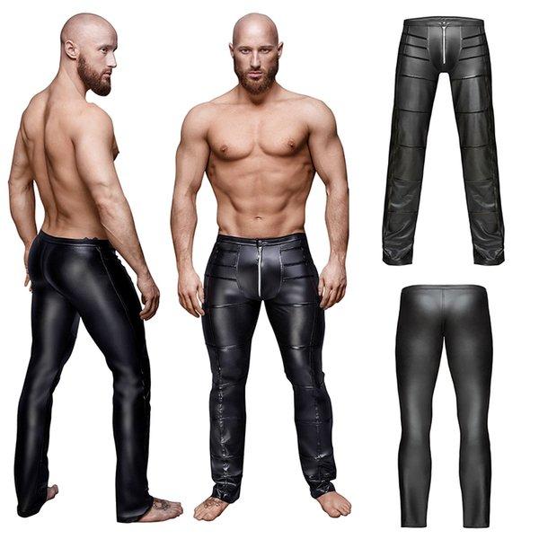 Pantaloni in ecopelle Sexy Zipper Cavallo stretto Pantaloni da uomo Clubwear Pantaloni sportivi Costumi aderenti Costumi da party Skinny jogging Abbigliamento