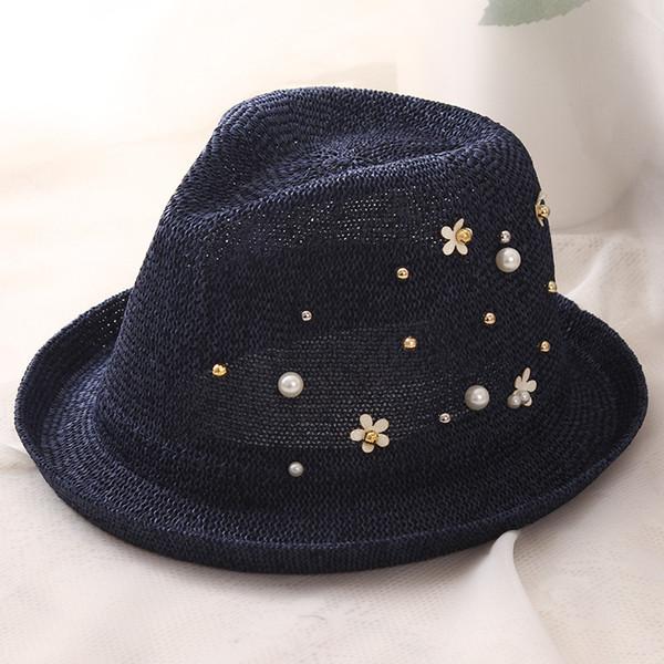 HT1161 New Fashion Women Summer Sun Hats with Pearls Solid Black Straw Beach Hats Wide Brim Flip Up Rivet Fedora Panama