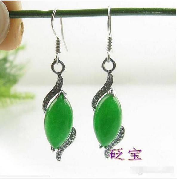 Green Jade Earrings Ladies Women Earrings Silver Hook Dangle Drop Earrings Gift