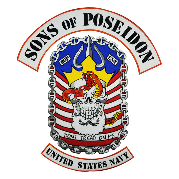 SONS OF POSEIDON MC Club Biker Vest Embroidered Patch Full Back Large Pattern For Rocker Biker Vest Patches for clothing Free Shipping