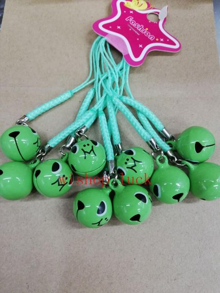 Hot Sale 50 pcs Cartoon frog Charms Bell Pendant With Strap Cellphone Key Chains Toy X181
