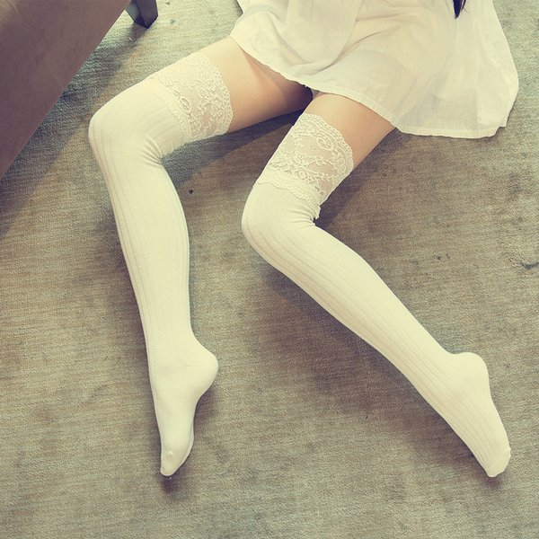 Ladies Fashion Knitting Leggings Dance Lace Sexy Stockings Women Lace Cotton Casual Long Socks Thick Candy Color High Socks