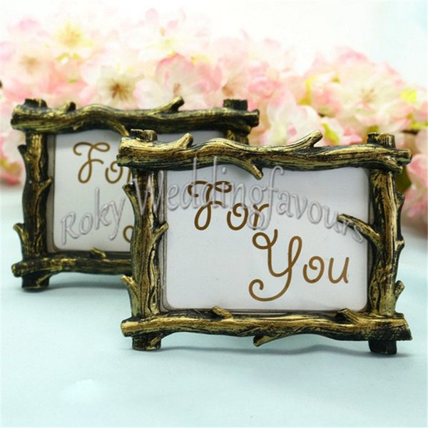 Free shipment 12PCS Rustic Tree Branch Photo Frame Place Card Holder Wedding Favors Party Table Decor Anniversary Giveaways Event Gifts