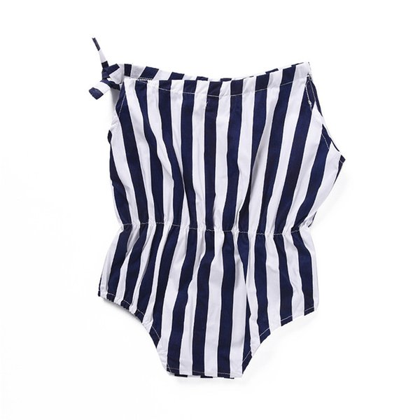 Mikrdoo Toddler Baby Boys Girls Romper Sleeveless Strapped Striped Cute Bodysuit Infant Baby Casual Clothes For 0-24M
