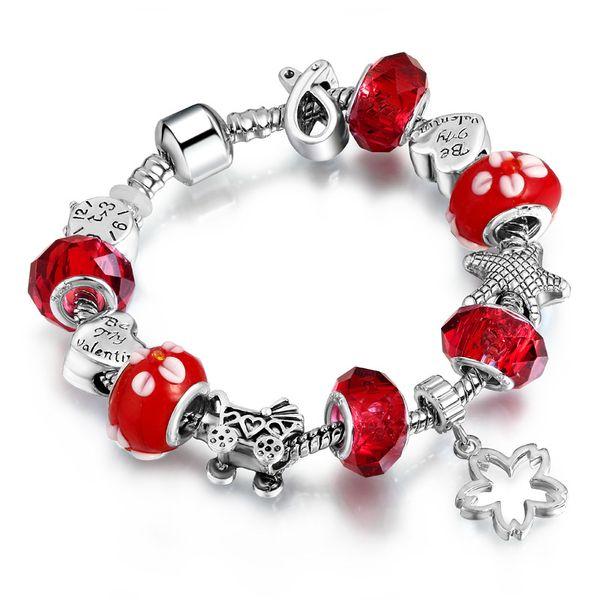 Mode Antik Silber DIY Frauen Charme Armband Trendy Kristall Perlen Silber Gold Kupfer Armreif Armbänder für Frauen