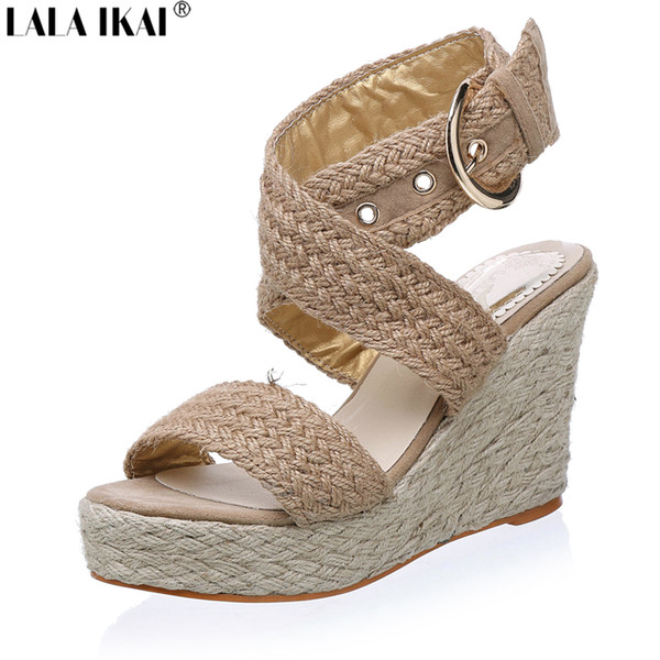 wearbag / 2017 Women Espadrille Wedge Sandals Summer Roman Bohemian Womens High Heels Wedges Open Toe Sandals Ankle Strap Cross-tied Shoes