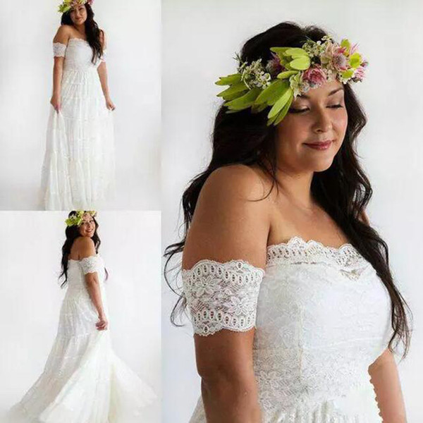 Discount Plus Size Boho Beach Country Wedding Dresses 2018