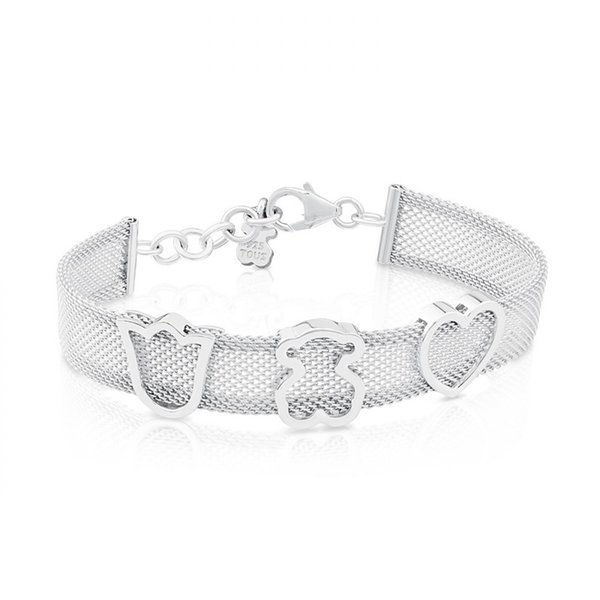 New edition mujer pulseras osos Luxury Women Jewelry Stainless Steel Silver gold hollow Crown Heart charms wide band mesh net cuff Bracelet