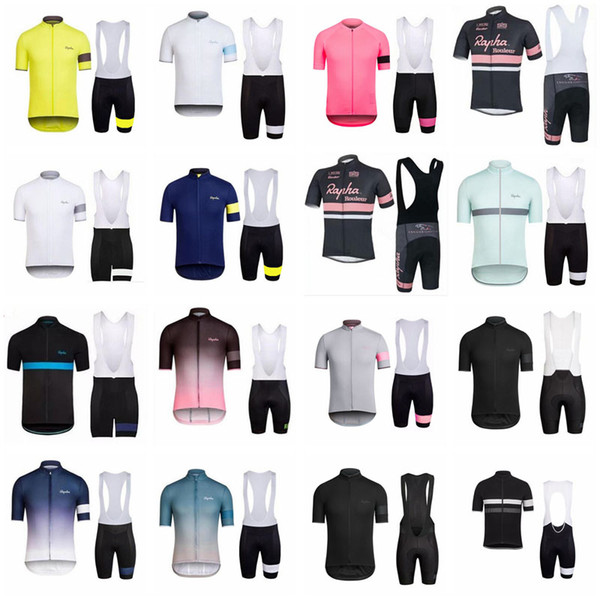top popular RAPHA team Cycling Short Sleeves jersey (bib) shorts sets cycling clothing breathable outdoor mountain bike D1320 2019