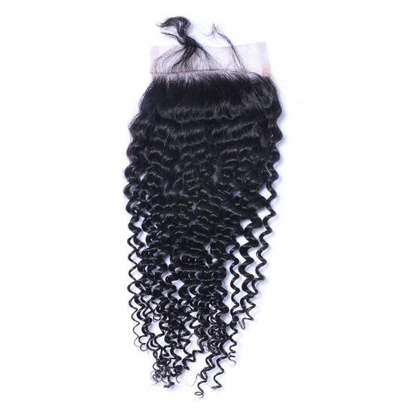Kinky Curl 4X4 Lace Closure Bleached Knots Brazilian Peruvian Indian Malaysain Human Hair Closure Free Middle 3 Part 100% Human Hair