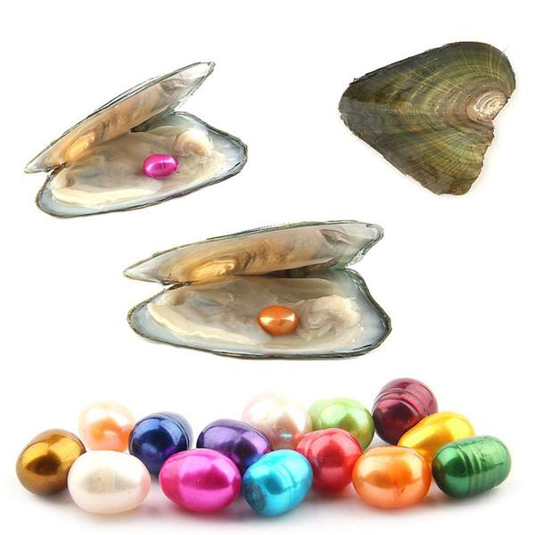 Oval Oyster Pearl 6-7mm Mix 15 Colore Fresh Water Natural Pearl Gift Decorazioni fai da te sciolte Confezionamento sottovuoto Perle all'ingrosso Oyster