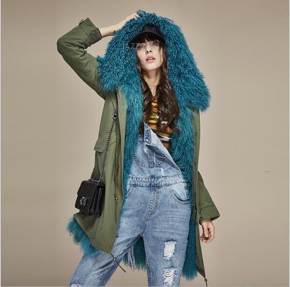 Fashion Women warm coats Jazzevar brand blue Mongolia sheep fur liner army green long jackets snow winter parka with Mongolia fur trim hoody