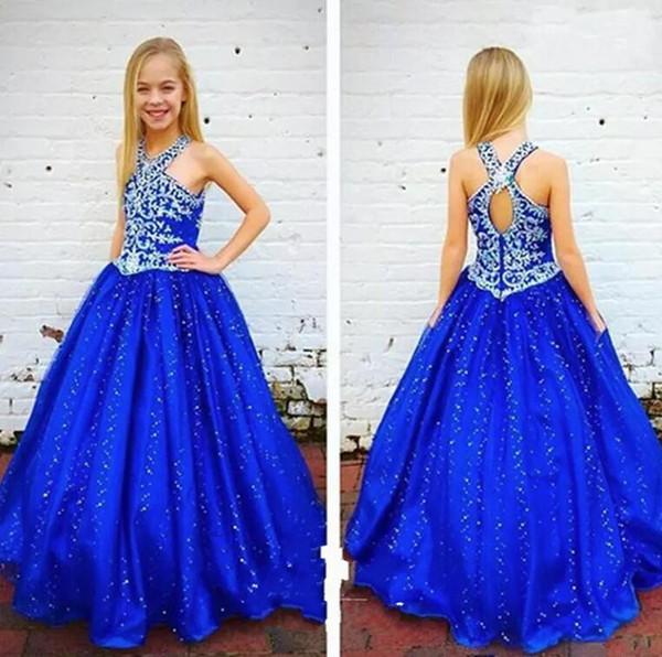 Kraliyet Mavi Sparkly Kızlar Pageant Elbise Rhinestone Kristal Aç Geri A Hattı Saten Çocuklar Balo Parti Elbise Resmi Giyim