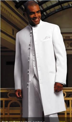 Abrigo largo Esmoquin blanco Esmoquin Padrino de boda Hombre Trajes de negocios Trajes de baile (Chaqueta + Pantalones + Chaleco + Corbata)