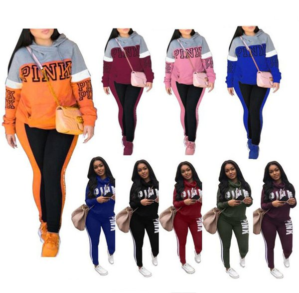PINK Women Letter Tracksuits Jogger Autumn 2PCS Outfits Love Pink Letter outdoor SweatShirt+Long pants Hooded clothes Yellow