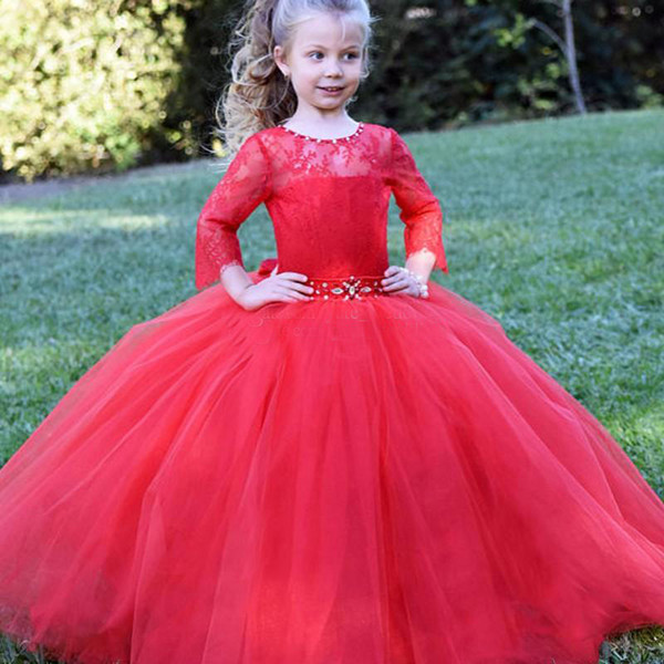 Long Sleeves Red Flower Girls Dresses Lace Tulle Ball Gown Girls Pageant Dresses Crystal Ribbon Sash Children Wedding Birthday Party Dresses