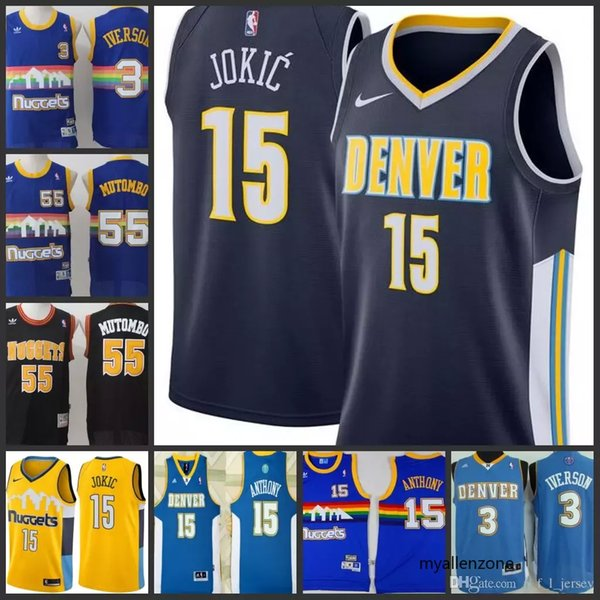 quality design 92709 dfc35 2018 Denver Nuggets Men Jersey #3 Allen Iverson 55 Dikembe Mutombo 15  Nikola Jokic 15 Carmelo Anthony Stitching Jerseys From Myallenzone9, $20.08  | ...