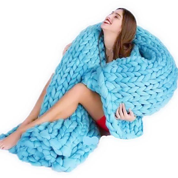 120*150cm Blanket Hand Weaving Photography Props Blankets Crochet Acrylic Soft Knitting Blanket Soft Thick Line Giant Yarn Knitted Blanket